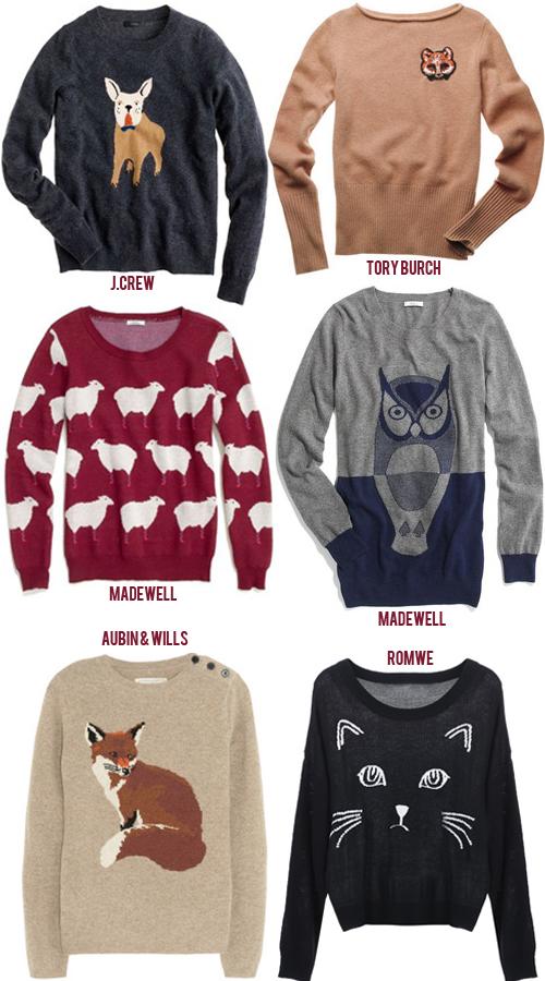 Animal Graphic Sweaters Lemon Stripes