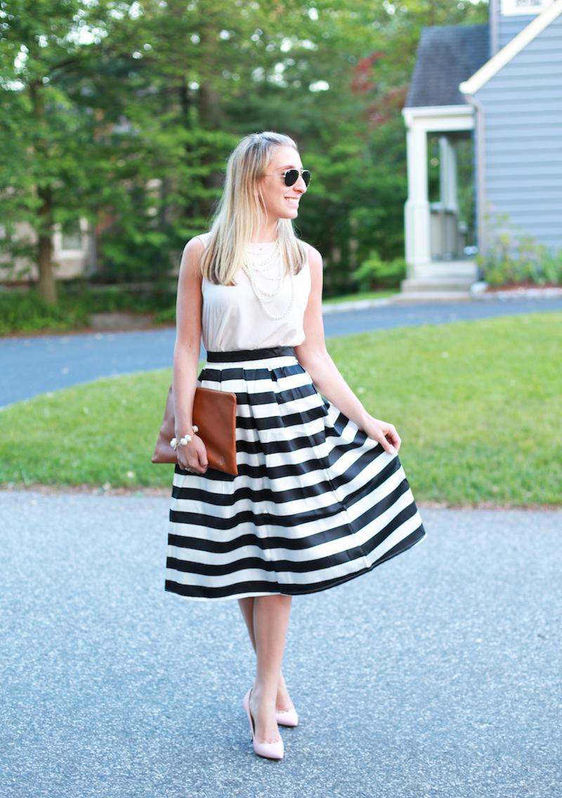 Striped Midi Skirt - Lemon Stripes