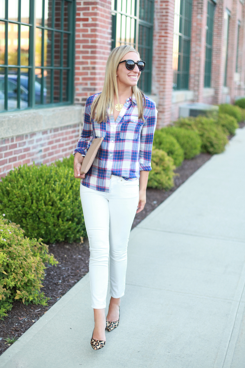 Plaid Shirt White Jeans