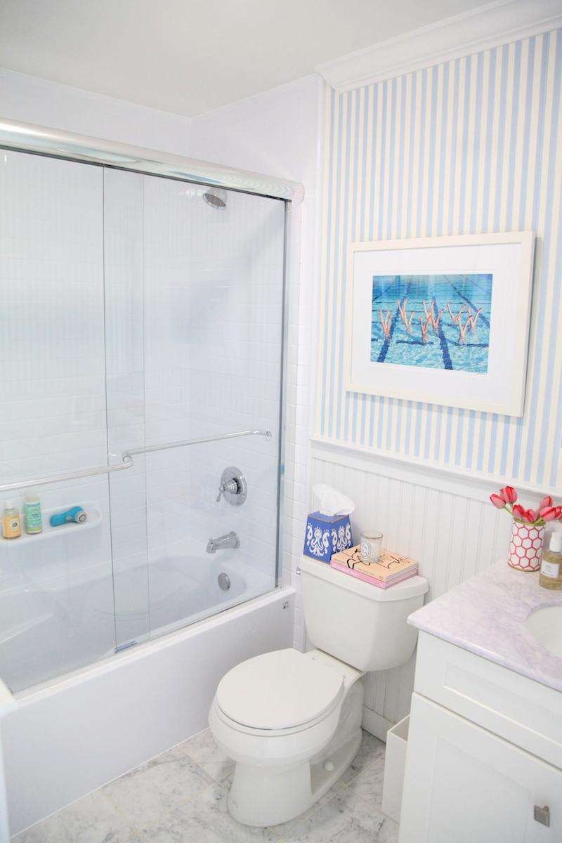 Lemon Stripes' Bath Fiiter Bathroom Makeover
