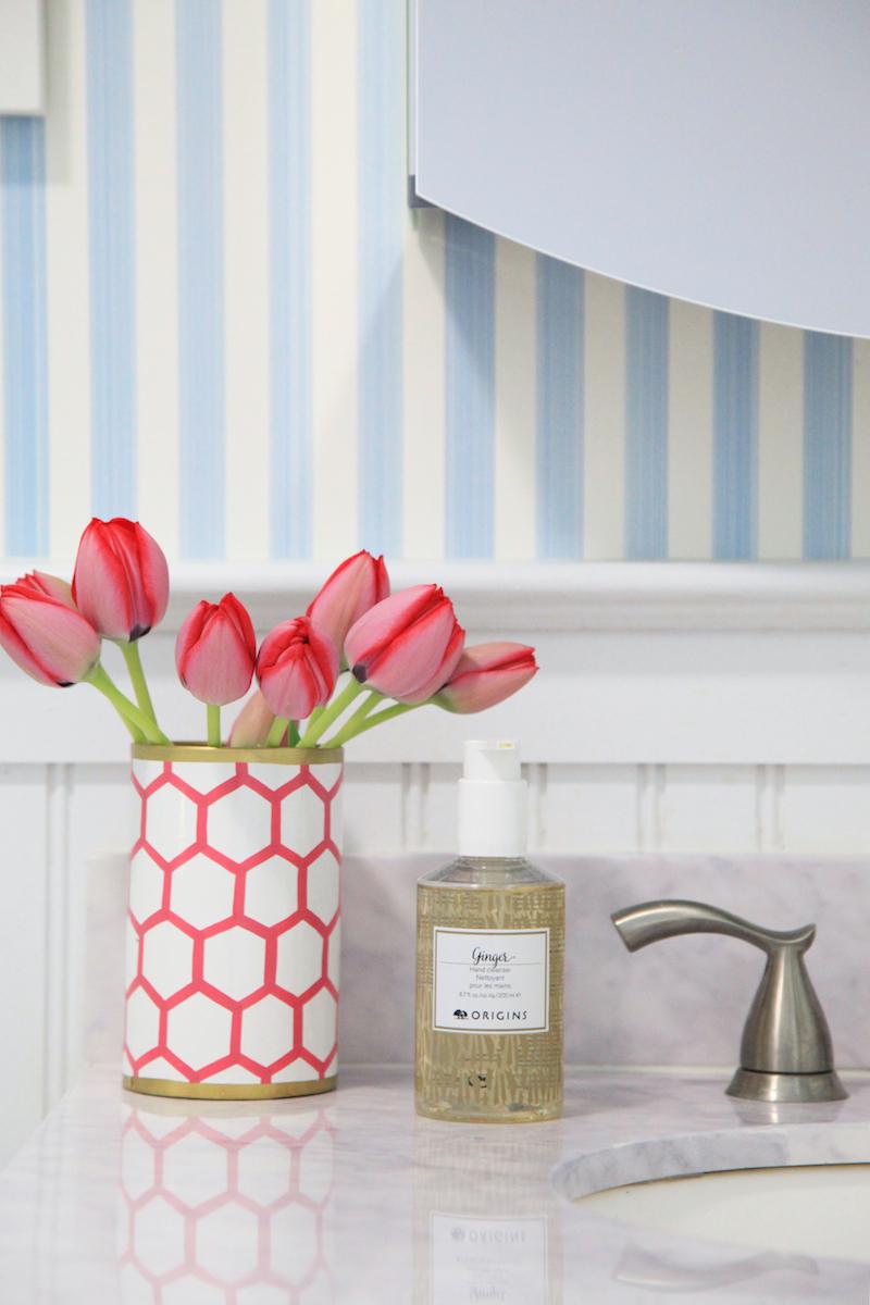 Details from Lemon Stripes bathroom makeover with Design Darling vase