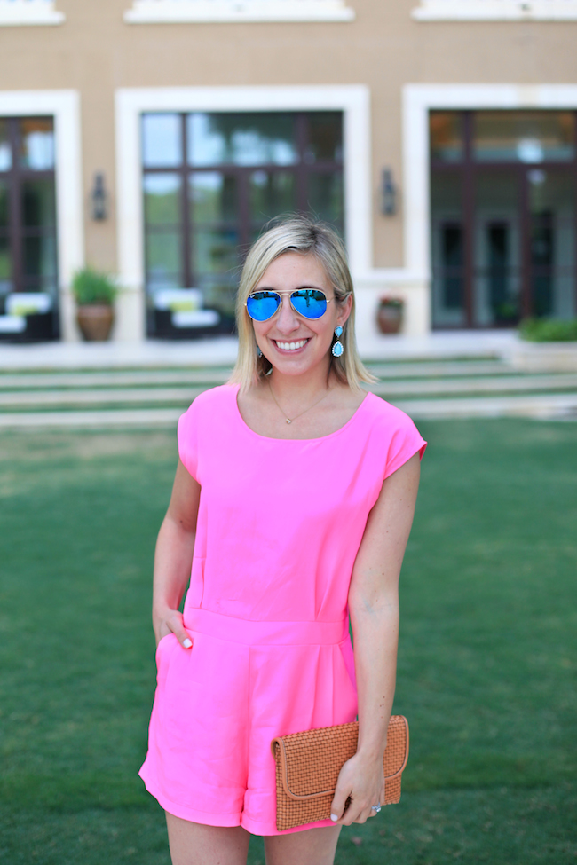 Lemon Stripes in a pink Sail to Sable romper