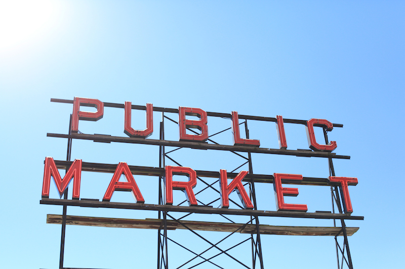 Public Market Sign Seattle