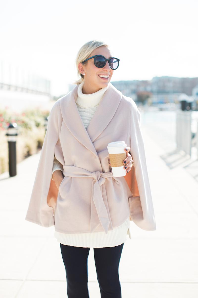 Lemon Stripes in a blush pink cape