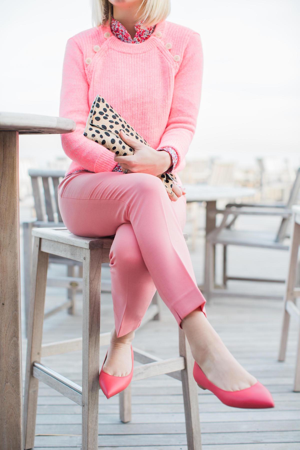 Lemon Stripes wearing pink