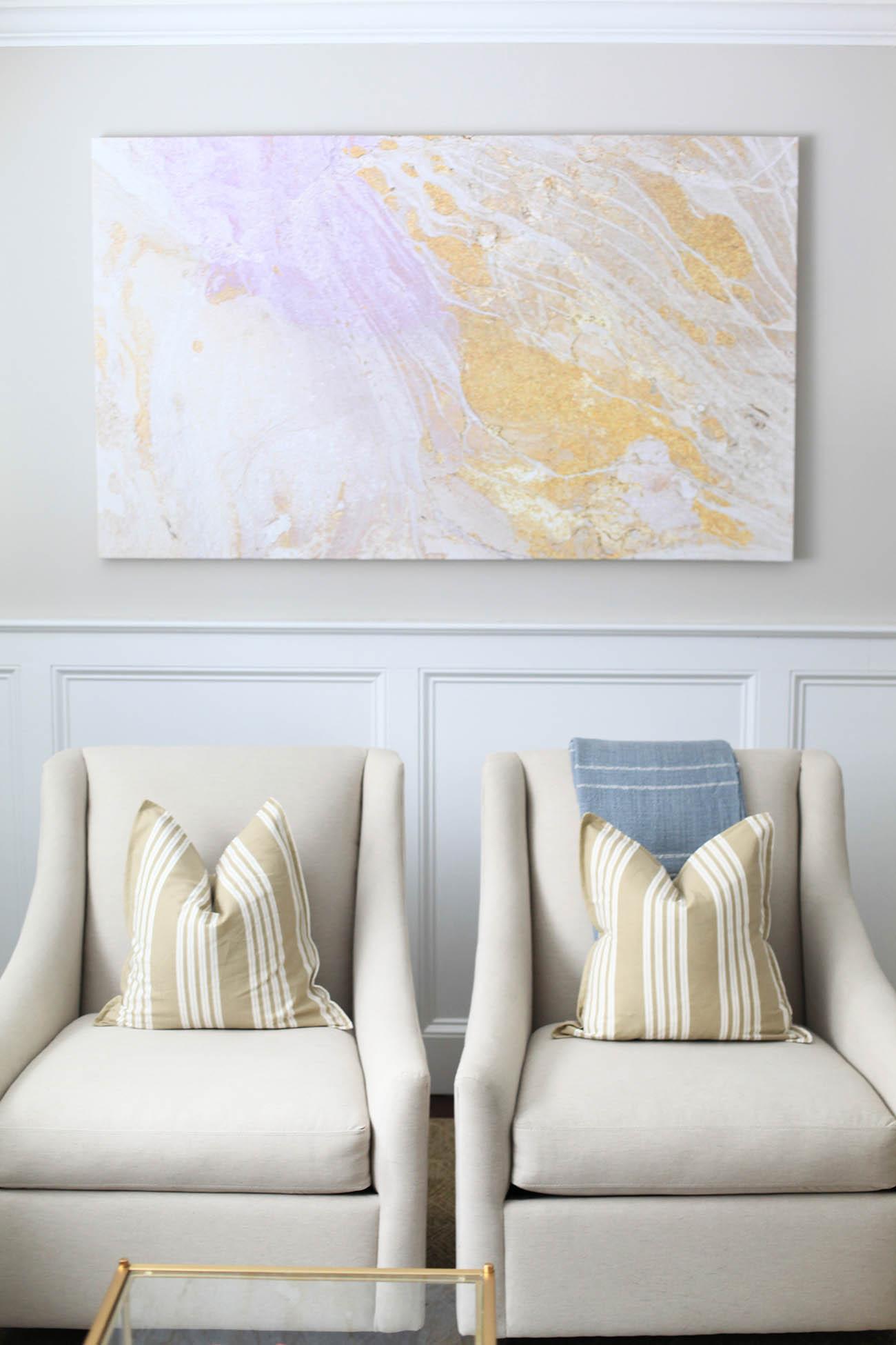 Living Room Refresh with Birch Lane : Abstract Art Living Room from lemonstripes.com size 1300 x 1950 jpeg 185kB