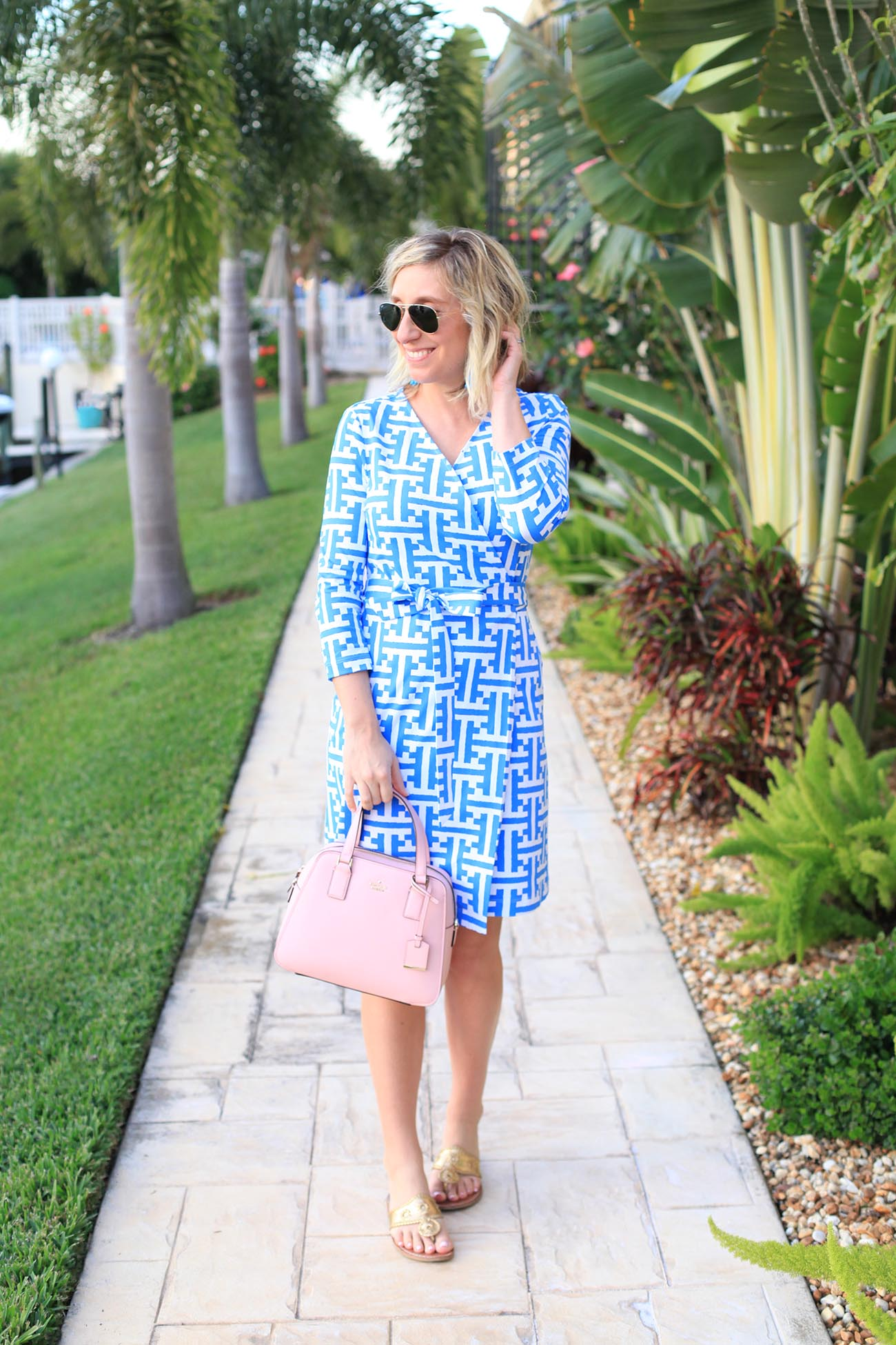 Lemon Stripes in a Persifor Wrap Dress and Kate Spade Bag