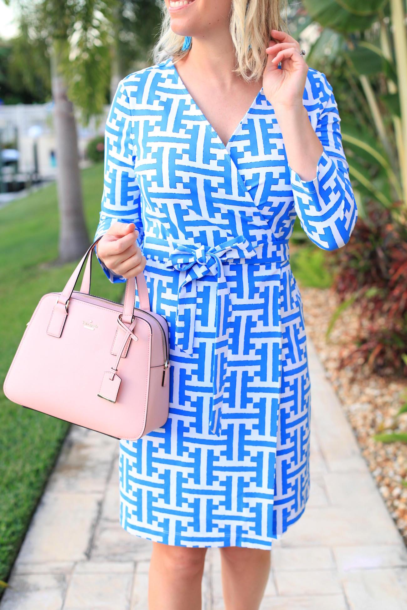 Greek Key Wrap Dress