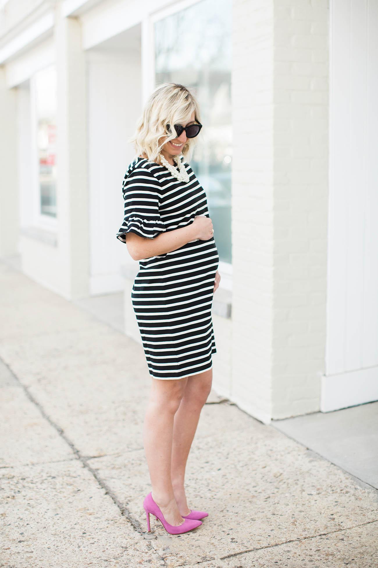 Lemon Stripes Maternity Dress