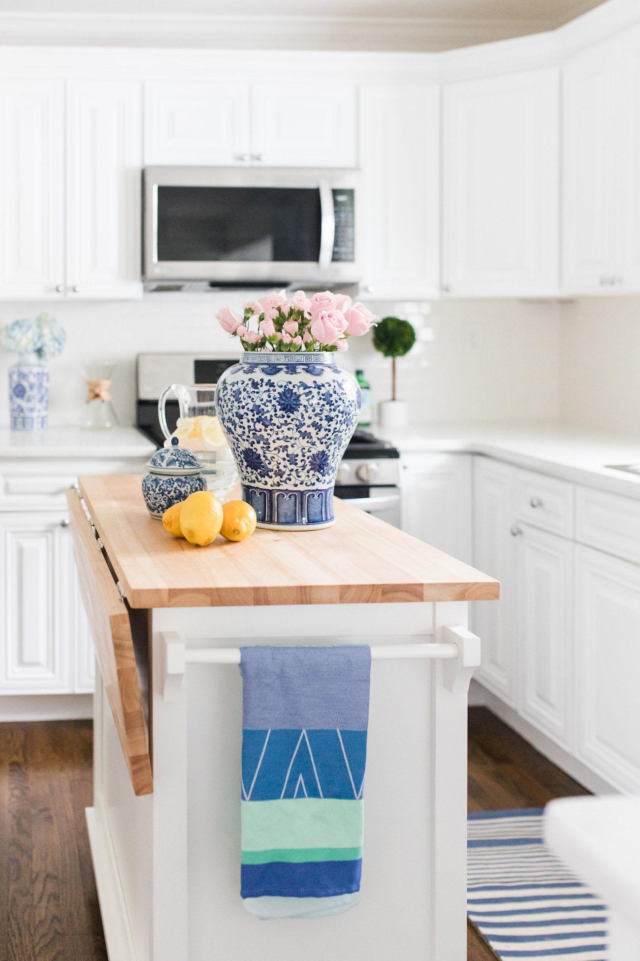 Crate And Barrel Butcher Block Kitchen Island : Lemon Stripes Kitchen Reveal